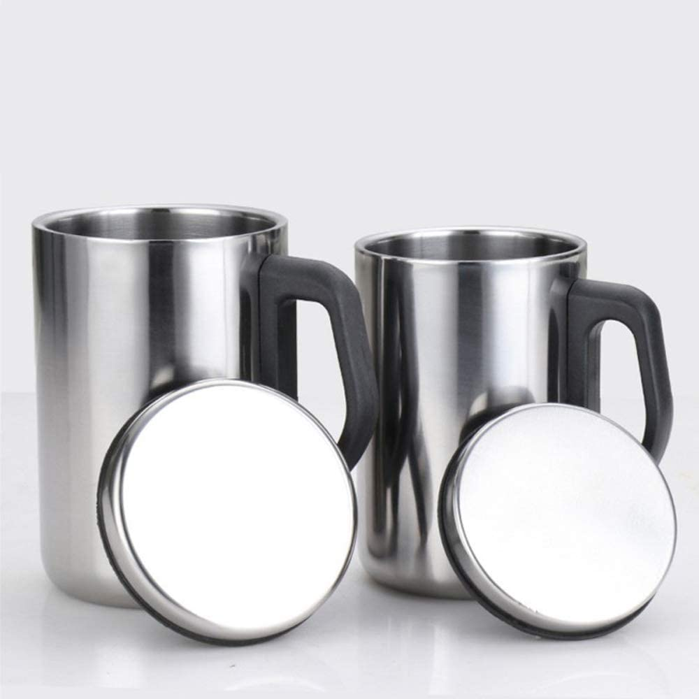 Insulated Cup, Stainless Steel Coffee Mug, Double Wall Beer Stein, Tumbler With Handle, Insulated Beer Mug With Lid Double Stainless Steel Vacuum Flask Metal Insulated Cup (350ML)