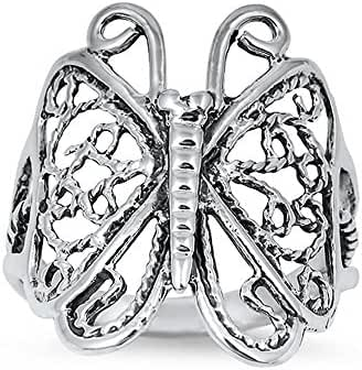 Filigree Silver Butterfly .925 Sterling Silver Ring Sizes 4-11