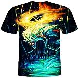 Sihand 3D Creative Fashion Men's Fox Print Round Neck T-Shirt Short Sleeve Summer Tees Shirt Tops