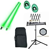 Band Directors Choice Educational Bell Kit Pack Deluxe w/Carry Bag, Drum Practice Pad, Green Light Up Drumsticks & BONUS Green Rhythm Percussion Shakers