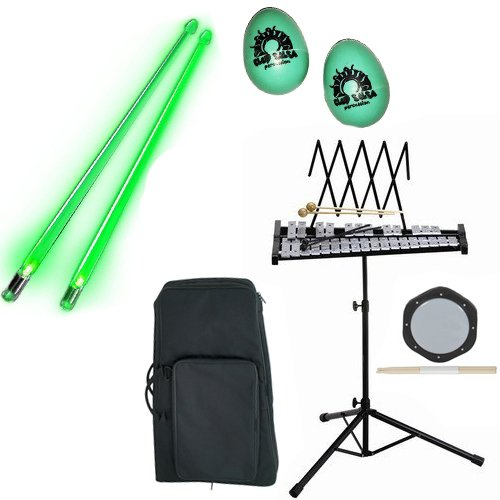 Band Directors Choice Educational Bell Kit Pack Deluxe w/Carry Bag, Drum Practice Pad, Green Light Up Drumsticks & BONUS Green Rhythm Percussion Shakers by Bell Kit Educational Packs