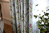 Set of 2 Panels Printed Leaves Thermal Insulated Blackout Curtains Grommet Room Darkening