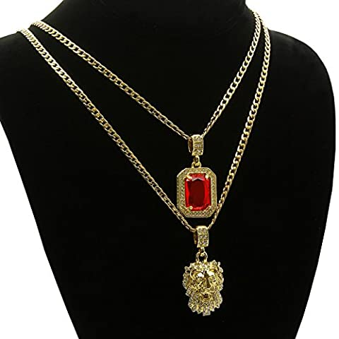Gold Tone Ice out Ruby, Lion Pendant 24