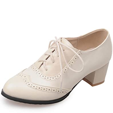 d9f68b3ea8 DoraTasia Women's Vintage Lace up Pu Leather Block Heel Oxfords Ankle  Booties Cuban Brogues Dress Shoes