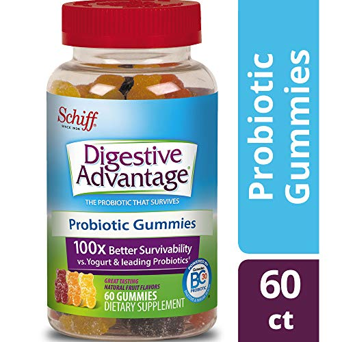 Probiotic Gummy for Adults, Digestive Advantage 60 Gummies, Gluten-Free, Survives 100x Better than regular 50 billion CFU, Assorted Fruit Flavors,Supports Digestive Health