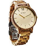 JORD Wooden Wrist Watches for Men or Women - Frankie Minimalist Series / Wood Watch Band / Wood Bezel / Analog Quartz Movement - Includes Wood Watch Box (Zebrawood & Champagne)