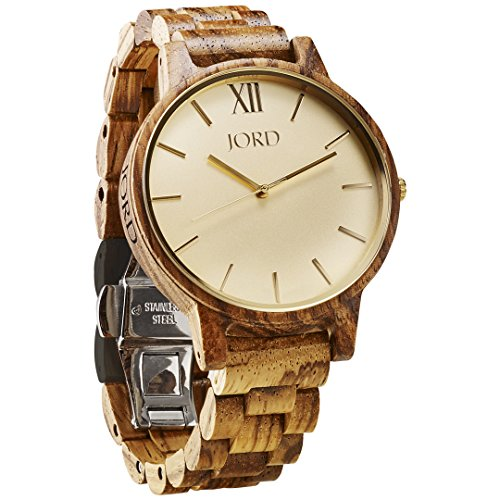 JORD Wooden Wrist Watches for Men or Women - Frankie Minimalist Series/Wood Watch Band/Wood Bezel/Analog Quartz Movement - Includes Watch Box (Zebrawood & Champagne) ()