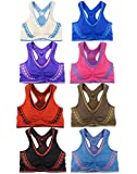 Le Ange Intimates Women 6 Pack Seamless Multi Styles Matching Athletic Sports Bras & Bottoms (One Size, Style 4 (Top))