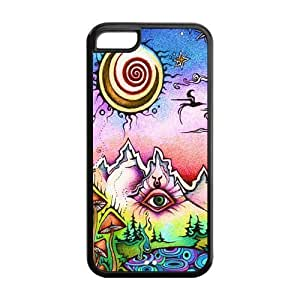 Crazy Trippy Protective Rubber Back Fits Cover Case for iPhone 5C