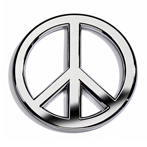 Chrome Plated Peace Sign Car Emblem With Rust-Proof ABS Plastic -