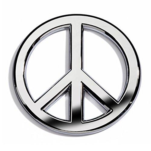 Emblem Metal Sign - Chrome Peace Sign Car Emblem by Revolution Car Badges