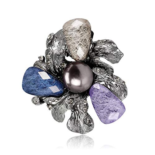DDLKK Acrylic Flower Pearls Brooch Pins Brooches and high Heels for Women Plating Alloy Painted Fashion high Heels for Jackets Hijab pins