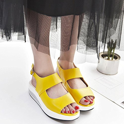 Women Platform Shoes,Hemlock Wedges Sandals Fish Mouth Thick Bottom High Heel Shoes Boots (US:9, Yellow)