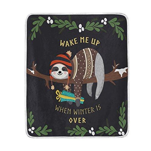 ALAZA Home Decor Winter Sloth Wake Me Up Floral Print Blanke