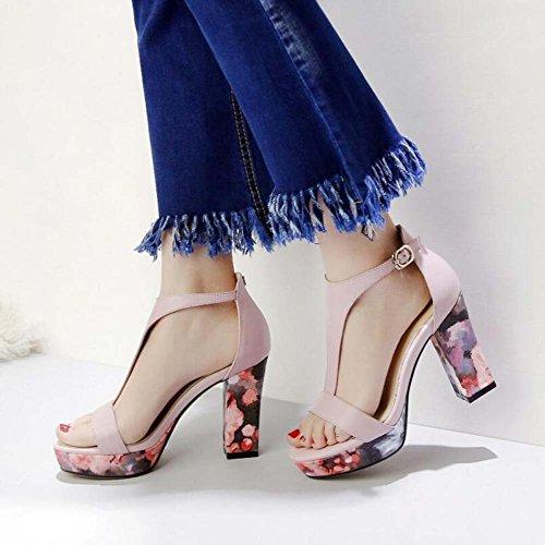 Con Wild Sandalias Tacón Impermeable Alto Moda Hebilla Ásperas Rosa Verano De Flores Plataforma La Mujer Nuevas Zapatos RAwqYgzx