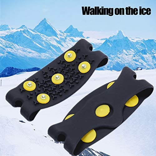 Anti-slip Stainless Steel Ice Grips for Winter Outdoor Walking Climbing,Black,Fit 225-265mm Shoes LINVINC Crampons for Shoes
