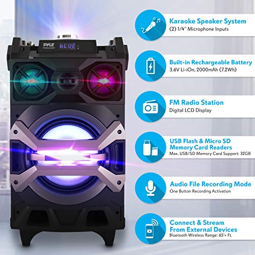 Pyle 500 Watt Outdoor Portable BT Connectivity Karaoke Speaker System - PA Stereo with 8'' Subwoofer, DJ Lights Rechargeable Battery Microphone, Recording Ability, MP3/USB/SD/FM Radio - PWMA325BT by Pyle (Image #6)