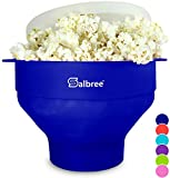 Salbree Collapsible Silicone Microwave Hot Air Popcorn Popper Bowl, Blue