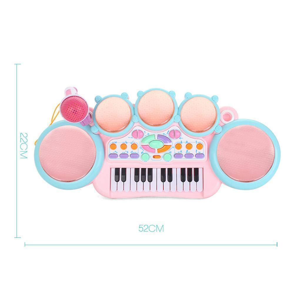 DYMAS Tastiera del Giocattolo di Cinque Tamburi Baby Multifunzione Musica con Microfono Puzzle Strumento Musicale Prima Infanzia