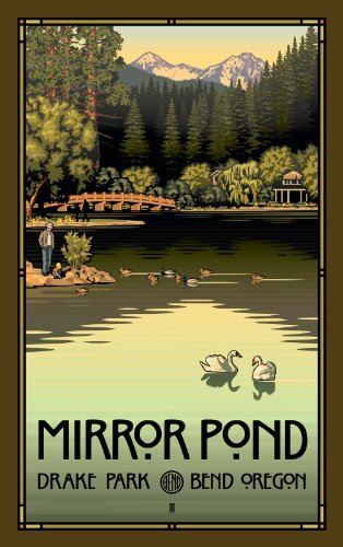 Northwest Art Mall Mirror Pond in Drake Park Bend Oregon Artwork by Paul B. Leighton, 11-Inch by - Bend Mall Oregon