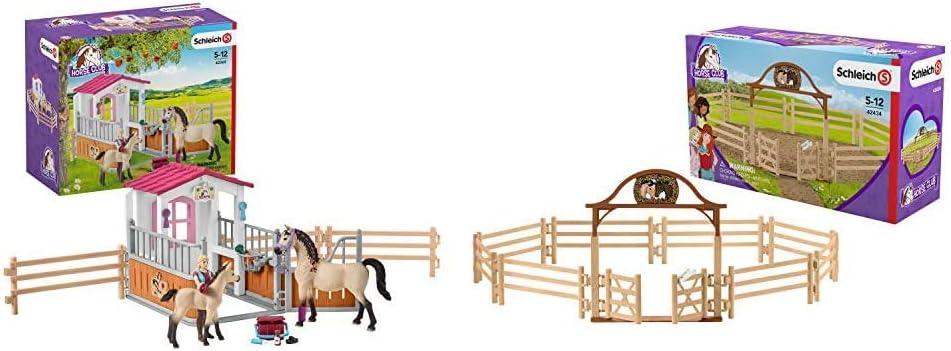 Schleich 42369 Kit Box Avec Chevaux Arabes Soigneuse De Chevaux 42434 Horse Club Accessoire Pre Pour Chevaux Avec Portail 42434 Multicolore Amazon Fr Jeux Et Jouets