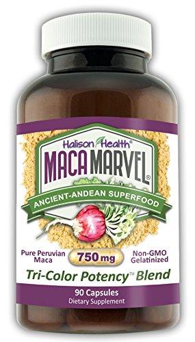 Price comparison product image Maca Marvel,  Tri Color Organic Maca Capsules,  Gelatinized for Better Bioavailabilty,  750mg,  No Additives,  Non-GMO