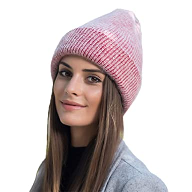 89a7ad5ba8a EcLife Hat Women Winter Hats Knitting Rabbit Wool Fur Hat Stretchy Skull  Turban Gorros Colo  Amazon.co.uk  Clothing