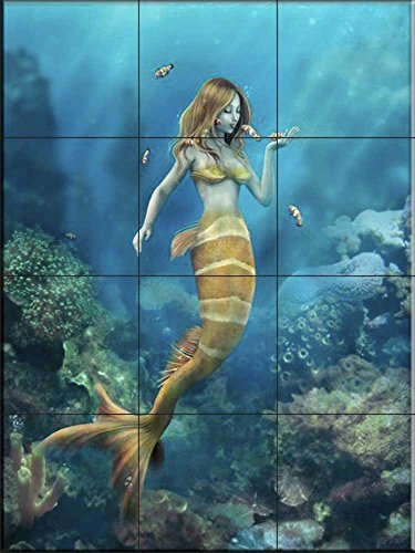 Ceramic Tile Mural - Clown Fish Kiss- by Susan McKivergan - Kitchen backsplash/Bathroom Shower