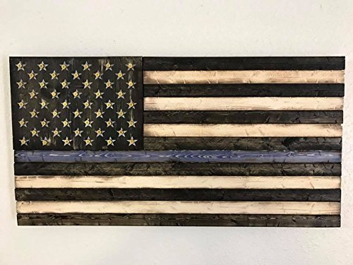 Wooden Rustic Style Thin Blue Line American Flag w/ Shell Casings (19''x37'')