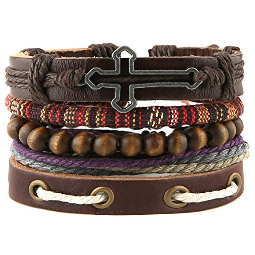 - HZMAN Mix 4 Wrap Bracelets Men Women, Hemp Cords Wood Beads Ethnic Tribal Bracelets, Leather Wristbands (SZ805033A)