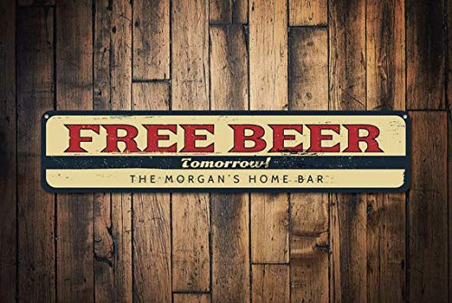 Free Beer Tomorrow Sign, Personalized Family Name Home Bar Sign, Custom Bar Sign, Metal Beer Decor, Bar Decor,Metal Sign, 4