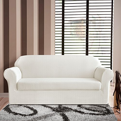 Tikami 2 Piece Jacquard Spandex Couch Covers Fitted Sofa