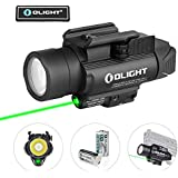OLIGHT Baldr Pro 1350 Lumens Tactical Weaponlight with Green Light and White LED, 260 Meters Beam Distance Compatible with 1913 or GL Rail, Powered by 2 x CR123A Batteries