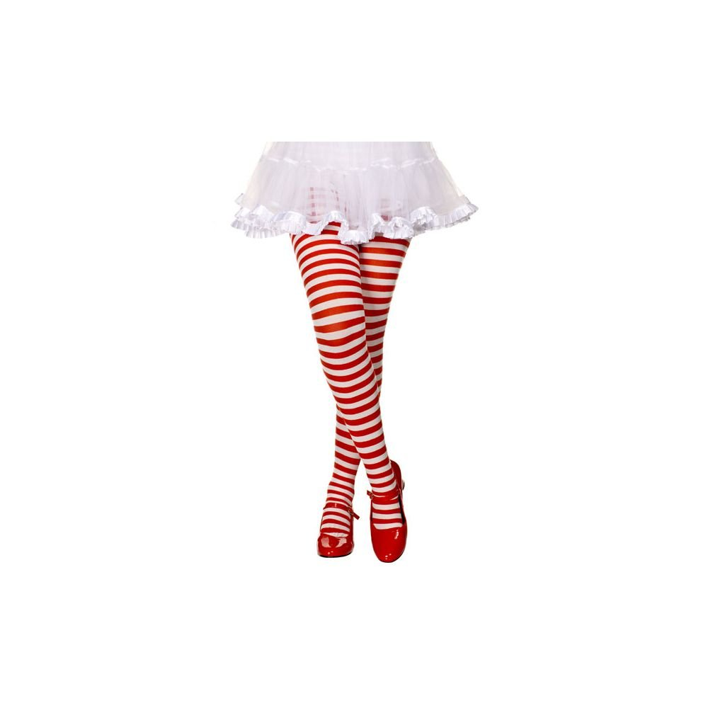 MUSICLEGS Girls Red and White Striped Tights (L) ML-270-WHT/RED-L