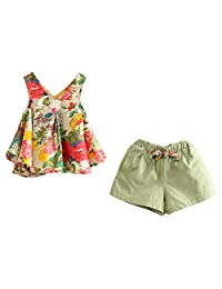 Mud Kingdom Girls Outfits Holiday Shorts and Tops Floral Clothes Set