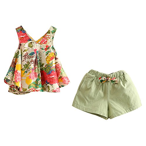(Mud Kingdom Girls Outfits Holiday Shorts and Tops Floral Clothes Set Green Size)