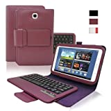 KHOMO ® Purple PU Leather Cover Case with Removable Bluetooth Keyboard for Samsung Galaxy Note 8.0