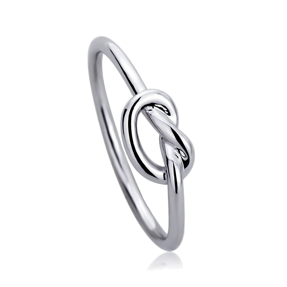 14K White Gold Wedding Ring Plain Gold Celtic Love Knot Promise Ring, 8