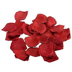 BESTOYARD 10 Pack Fake Rose Petals Artificial Wedding Flower Decoration (Wine Red) 45