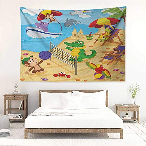 alisos Kids,Trippy Tapestries Cartoon Style Animals Playing on Beach Monkey Hippo Dolphin Exotic Summer Illustration 80W x 60L Inch Art Nature Home Decorations Multicolor