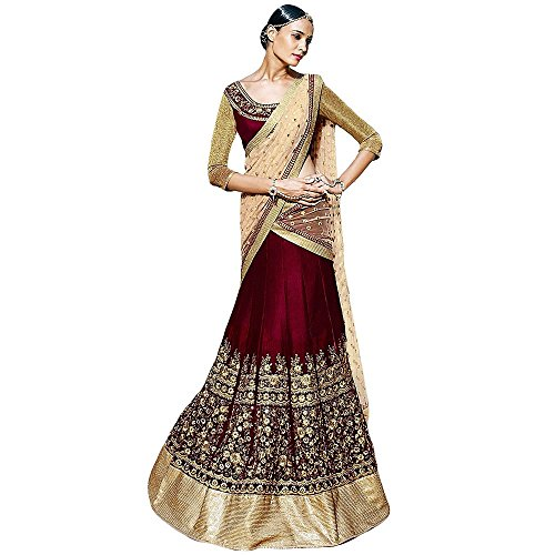 Shree Designer Sarees Women's Charming Maroon Velvet Lehenga Choli with Unstitched (Charming Saree)