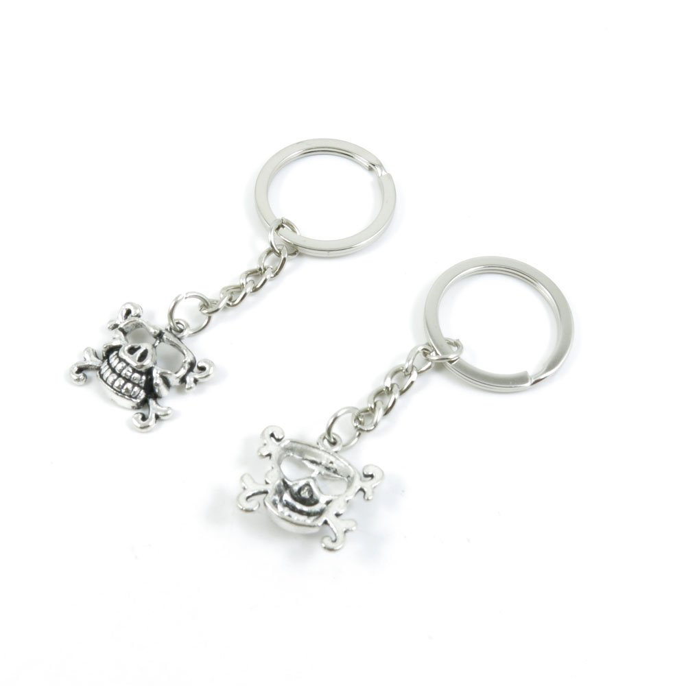 100 Pieces Keychain Door Car Key Chain Tags Keyring Ring Chain Keychain Supplies Antique Silver Tone Wholesale Bulk Lots E5DX5 Pig Skull Head
