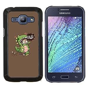 EJOOY---Cubierta de la caja de protección para la piel dura ** Samsung Galaxy J1 J100 ** --De los niños del dinosaurio del monstruo de la madre