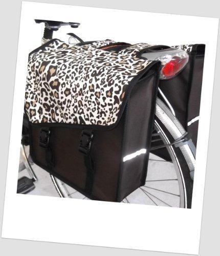 TJ-S-16 Fahrradtasche JENNY STYLE LEO Satteltasche Gepäckträgertasche 2 x 14 Liter Braun Leopard