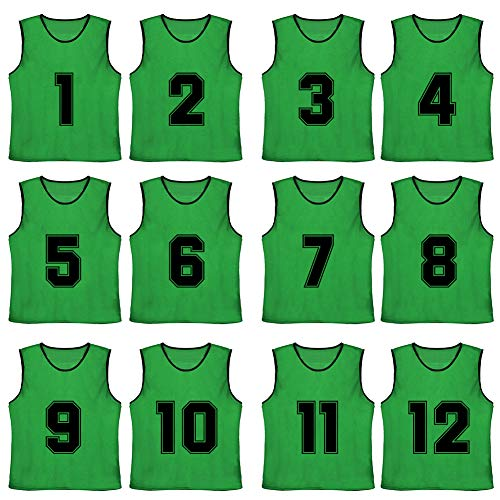 TOPTIE Numbered/Blank Scrimmage Team Practice Mesh Jerseys Vests Pinnies (12-Pack)-Forest (#1 to 12)-Adult ()