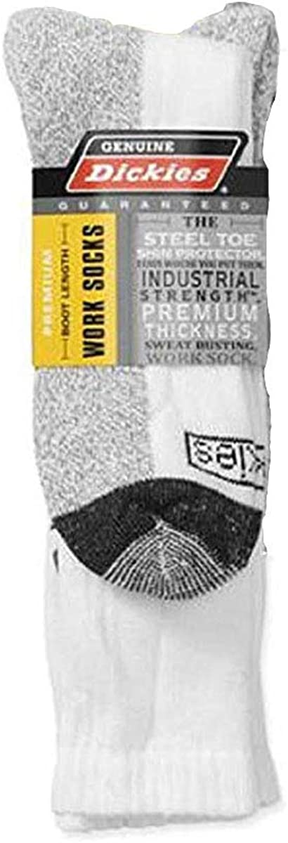 Dickies Genuine 2 Pair Mens Steel Toe Boot Length Crew Work Socks - White 6-12