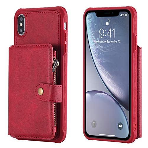 (Phone Cover for iPhone Xs MAX 2019 Leather,Red 6.5inch Holder 8 Card Slot (ID Card,Credit Card) Magnetic Buckle Coin Pocket with Zipper Photo Frame Cash Slot Waterproof Gift Girls Boys Unisex)
