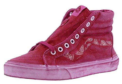 VANS SK8-HI REISSUE + Mens Size 8.5 Overwash Paisley Red Canvas Skateboarding Shoes wjerbm46p
