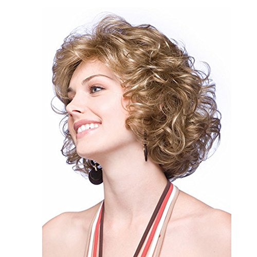 Beauty : LEJIMEI Short Curly Kinky Wigs for Women Fluffy Wavy Synthetic Hair Wig Natural Looking Wigs Heat Resistant Wigs with Wig Cap (Blonde) LM026