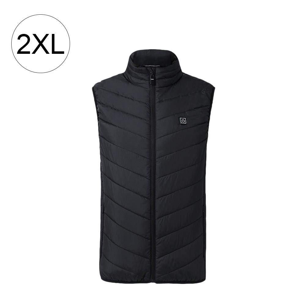 Jannyshop Insulated Heated Vest with USB Charging for Outdoor Riding Skiing Fishing(Black,2XL)